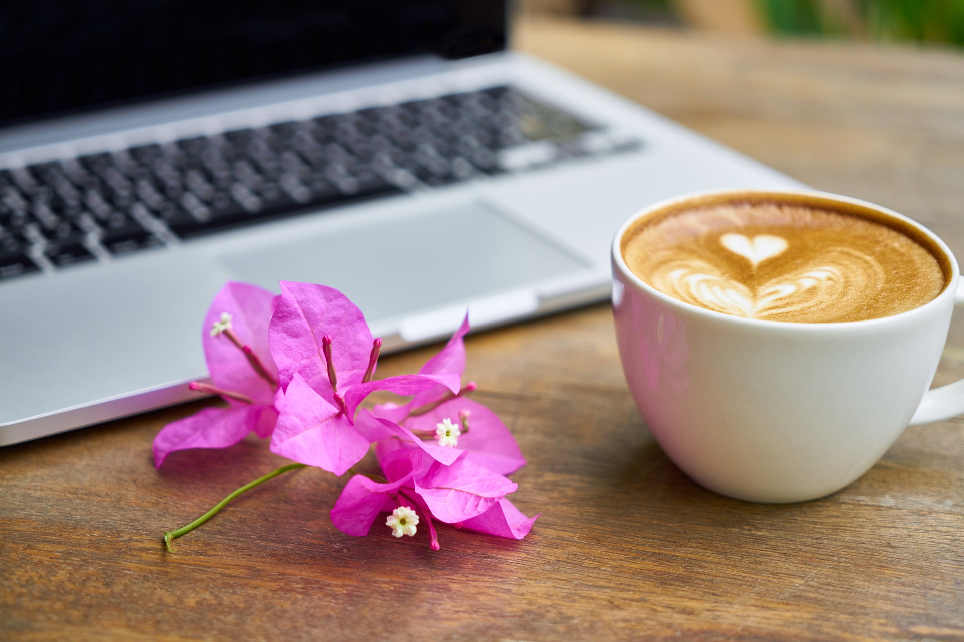 Freelancer laptop with coffee