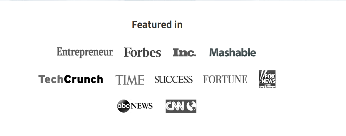 Featured in social proof picture of various news publications.