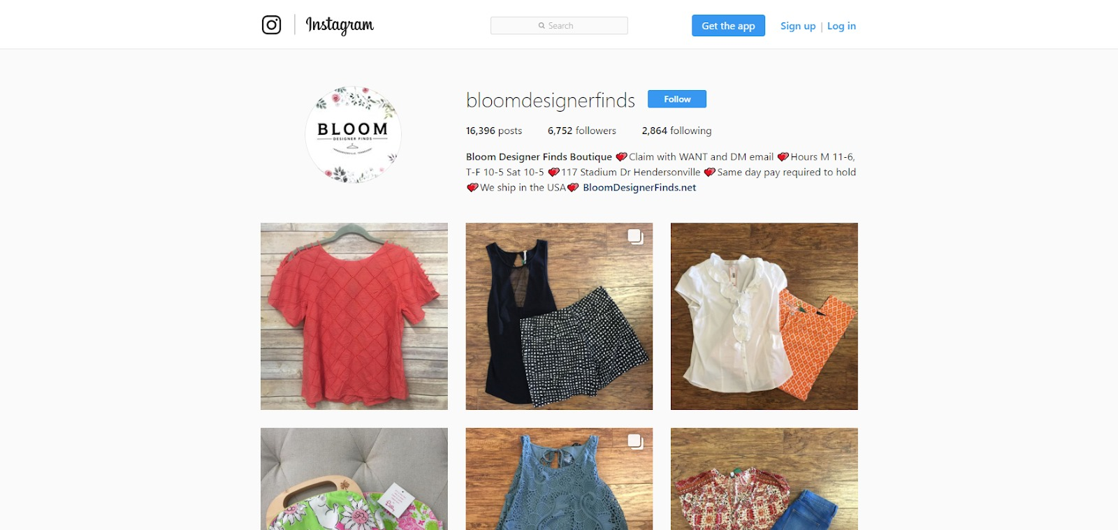Bloom Designer Finds Instagram screenshot.