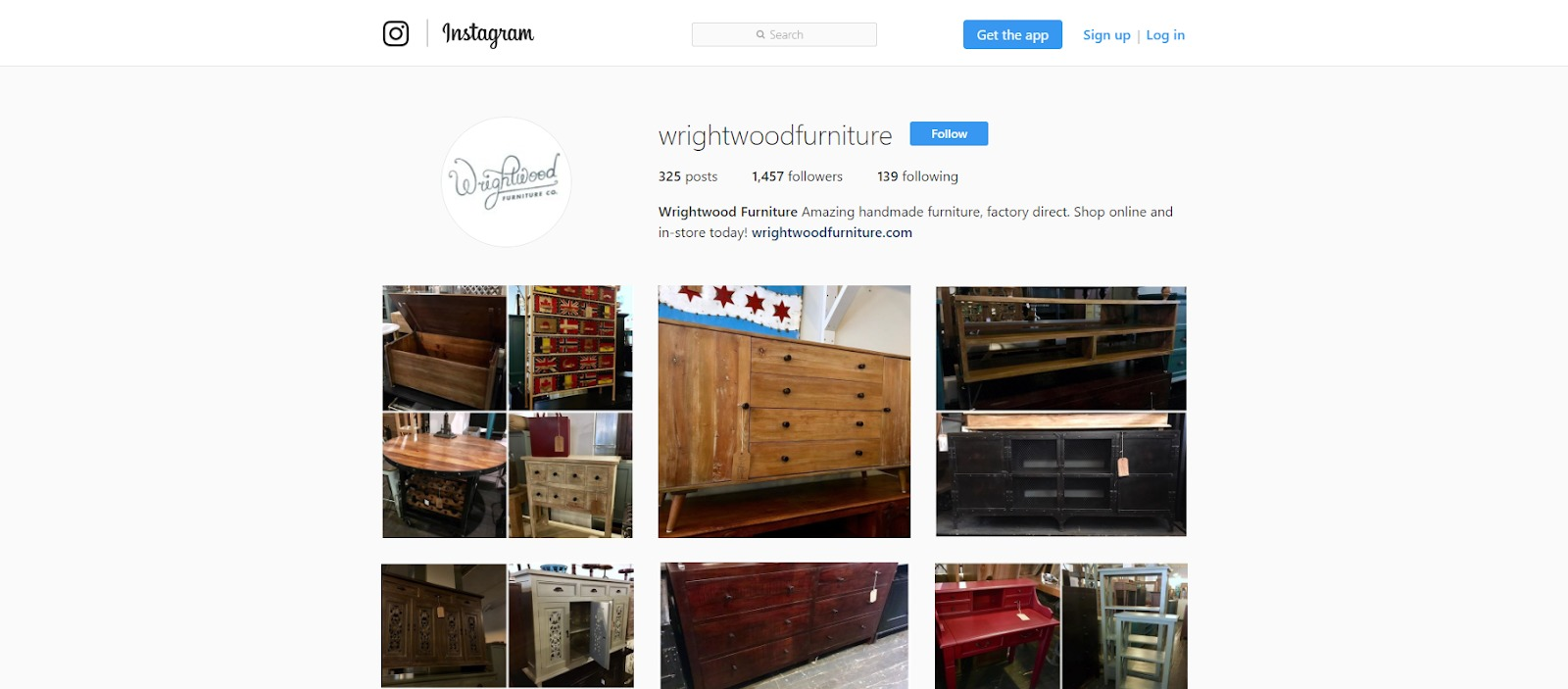 Wrightwood Furniture Instagram screenshot.